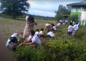 คณะครูและนักเรียนปลูกต้นไม้ และเวียนเทียน
